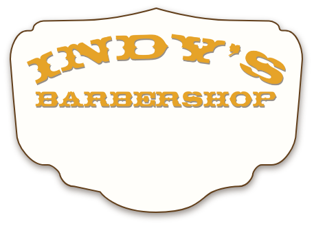 Indy's Barbershop logo in old-fashioned sign painter's style